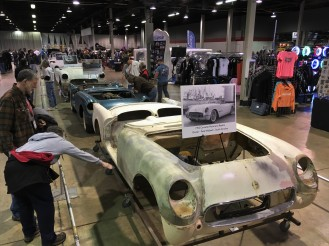 A lineup of early fiberglass Corvette shells provided invaluable information for restorers of the complex bonded bodies.